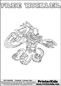 Printable or online colorable Skylanders Swap Force coloring page. This colouring sheet show the combination skylander FREE BUCKLER that has to be made by combining parts from other Skylanders Swap Force characters! FREE BUCKLER is drawn with the upper part of the FREE RANGER Skylander and the lower part of the WASH BUCKLER Skylander. In this coloring page, the FREE BUCKLER skylander can be colored in full - as a complete skylander. The colouring page is drawn with a super thin line and has a colorable text with the FREE BUCKLER letters as well. Print and color this Skylanders Swap Force FREE BUCKLER coloring book page that is drawn and made available by Loke Hansen (http://www.LokeHansen.com) based on the original artwork of the Skylanders characters from the Skylanders Swap Force website. This coloring page variant has the highest amount of detail areas due to the thin drawing line used. Be sure to check the two other variants of this coloring page for more stroke (the line used to draw the FREE BUCKLER with) options.