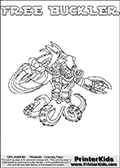 Skylanders Swap Force coloring page with FREE BUCKLER. The FREE BUCKLER Skylander figure cannot be bought as it is, it must be made by combining parts from FREE ranger and WASH BUCKLER! FREE BUCKLER is drawn with the upper part of the FREE RANGER Skylander and the lower part of the WASH BUCKLER Skylander. In this coloring page, the FREE BUCKLER skylander can be colored completely. The colouring page is drawn with a thin shaded line and has a colorable text with the FREE BUCKLER letters as well. Print and color this Skylanders Swap Force FREE BUCKLER coloring book page that is drawn and made available by Loke Hansen (http://www.LokeHansen.com) based on the original artwork of the Skylanders characters from the Skylanders Swap Force website. This line variant is the -editors choice- where detail areas and line appearance are in best balance. Be sure to check the two other variants of this coloring page for more stroke (the line used to draw the FREE BUCKLER with) options.