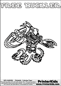 Printable and online colorable page for Skylanders Swap Force fans with the combination figure called FREE BUCKLER. FREE BUCKLER must be made by combining parts from other Skylanders Swap Force characters! FREE BUCKLER is drawn with the upper part of the FREE RANGER Skylander and the lower part of the WASH BUCKLER Skylander, the part used from each Skylander is used in the new skylanders name. In this coloring page, the FREE BUCKLER skylander can be colored completely. The colouring page is drawn with a very thick line making it ideal for the youngest Skylanders Swap Force fans. The downside of the thick line is that some detail areas become unavailable for coloring. The coloring page has a colorable text with the FREE BUCKLER letters as well. Print and color this Skylanders Swap Force FREE BUCKLER coloring book page that is drawn and made available by Loke Hansen (http://www.LokeHansen.com) based on the original artwork of the Skylanders characters from the Skylanders Swap Force website. Be sure to check the two other variants of this coloring page for more line width options.