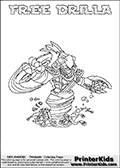 Printable colouring page that show the FREE DRILLA Skylanders Swap Force combined figure. The Skylander in this page to color- FREE DRILLA is a combined Skylander that is made from two different Skylanders figures. It has the upper part of the FREE RANGER Skylander and the lower part of the GRILLA DRILLA Skylander. This coloring page for printing show the Skylander in full and include a colorable name of the figure at the top too. Print and color this Skylanders Swap Force FREE DRILLA page that is drawn by Loke Hansen (http://www.LokeHansen.com) based on the original artwork of the Skylanders characters.