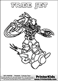 Coloring page with FREE JET from the 2013 Skylanders game called Skylanders SwapForce. The Skylanders Swap Force universe offer new unique characters that can be combined into even more characters. The Skylanders character in this coloring print - FREE JET has the upper part of the FREE RANGER Skylander character and the lower part of the BOOM JET character. This coloring page for printing show the Skylander in full. Print and color this Skylanders Swap Force FREE BLADE page that is drawn by Loke Hansen (http://www.LokeHansen.com) based on the original artwork of the Skylanders characters.