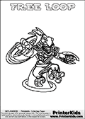 This coloring page (for printing or coloring online) show the Skylanders Swap Force figure combination FREE LOOP. FREE LOOP is drawn with the upper part of the FREE RANGER Skylander and the lower part of the HOOT LOOP Skylander in this colorable sheet. The parts that make up the FREE LOOP skylanders character are drawn so that the Skylander can be colored in full - as one character or figure. Print and color this Skylanders Swap Force FREE LOOP page that is drawn by Loke Hansen (http://www.LokeHansen.com) based on the original artwork of the Skylanders characters from the Skylanders Swap Force website.