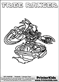 Coloring page with FREE RANGER from the 2013 Skylanders game called Skylanders Swap Force. The Skylanders Swap Force universe offer new unique characters that can be combined into even more characters. The Skylanders character in this coloring print - FREE RANGER is a standard character and has no parts from other Skylanders characters. It can however replace either the upper or lower body with that of another Skylanders character. This coloring page for printing show the Skylander in full. Print and color this Skylanders Swap Force FREE RANGER page that is drawn by Loke Hansen (http://www.LokeHansen.com) based on the original artwork of the Skylanders characters.