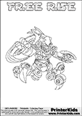 Printable or online colorable Skylanders Swap Force coloring page. This colouring sheet show the combination skylander FREE RISE that has to be made by combining parts from other Skylanders Swap Force characters! FREE RISE is drawn with the upper part of the FREE RANGER Skylander and the lower part of the SPY RISE Skylander. In this coloring page, the FREE RISE skylander can be colored in full - as a complete skylander. The colouring page is drawn with a super thin line and has a colorable text with the FREE RISE letters as well. Print and color this Skylanders Swap Force FREE RISE coloring book page that is drawn and made available by Loke Hansen (http://www.LokeHansen.com) based on the original artwork of the Skylanders characters from the Skylanders Swap Force website. This coloring page variant has the highest amount of detail areas due to the thin drawing line used. Be sure to check the two other variants of this coloring page for more stroke (the line used to draw the FREE RISE with) options.