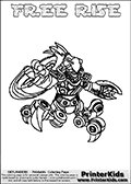 Printable and online colorable page for Skylanders Swap Force fans with the combination figure called FREE RISE. FREE RISE must be made by combining parts from other Skylanders Swap Force characters! FREE RISE is drawn with the upper part of the FREE RANGER Skylander and the lower part of the SPY RISE Skylander, the part used from each Skylander is used in the new skylanders name. In this coloring page, the FREE RISE skylander can be colored completely. The colouring page is drawn with a very thick line making it ideal for the youngest Skylanders Swap Force fans. The downside of the thick line is that some detail areas become unavailable for coloring. The coloring page has a colorable text with the FREE RISE letters as well. Print and color this Skylanders Swap Force FREE RISE coloring book page that is drawn and made available by Loke Hansen (http://www.LokeHansen.com) based on the original artwork of the Skylanders characters from the Skylanders Swap Force website. Be sure to check the two other variants of this coloring page for more line width options.