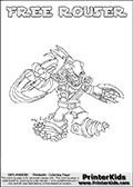 Printable or online colorable Skylanders Swap Force coloring page. This colouring sheet show the combination skylander FREE ROUSER that has to be made by combining parts from other Skylanders Swap Force characters! FREE ROUSER is drawn with the upper part of the FREE RANGER Skylander and the lower part of the RUBBLE ROUSER Skylander. In this coloring page, the FREE ROUSER skylander can be colored in full - as a complete skylander. The colouring page is drawn with a super thin line and has a colorable text with the FREE ROUSER letters as well. Print and color this Skylanders Swap Force FREE ROUSER coloring book page that is drawn and made available by Loke Hansen (http://www.LokeHansen.com) based on the original artwork of the Skylanders characters from the Skylanders Swap Force website. This coloring page variant has the highest amount of detail areas due to the thin drawing line used. Be sure to check the two other variants of this coloring page for more stroke (the line used to draw the FREE ROUSER with) options.