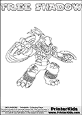 Printable or online colorable Skylanders Swap Force coloring page. This colouring sheet show the combination skylander FREE SHADOW that has to be made by combining parts from other Skylanders Swap Force characters! FREE SHADOW is drawn with the upper part of the FREE RANGER Skylander and the lower part of the TRAP SHADOW Skylander. In this coloring page, the FREE SHADOW skylander can be colored in full - as a complete skylander. The colouring page is drawn with a super thin line and has a colorable text with the FREE SHADOW letters as well. Print and color this Skylanders Swap Force FREE SHADOW coloring book page that is drawn and made available by Loke Hansen (http://www.LokeHansen.com) based on the original artwork of the Skylanders characters from the Skylanders Swap Force website. This coloring page variant has the highest amount of detail areas due to the thin drawing line used. Be sure to check the two other variants of this coloring page for more stroke (the line used to draw the FREE SHADOW with) options.