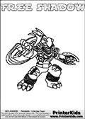 Printable and online colorable page for Skylanders Swap Force fans with the combination figure called FREE SHADOW. FREE SHADOW must be made by combining parts from other Skylanders Swap Force characters! FREE SHADOW is drawn with the upper part of the FREE RANGER Skylander and the lower part of the TRAP SHADOW Skylander, the part used from each Skylander is used in the new skylanders name. In this coloring page, the FREE SHADOW skylander can be colored completely. The colouring page is drawn with a very thick line making it ideal for the youngest Skylanders Swap Force fans. The downside of the thick line is that some detail areas become unavailable for coloring. The coloring page has a colorable text with the FREE SHADOW letters as well. Print and color this Skylanders Swap Force FREE SHADOW coloring book page that is drawn and made available by Loke Hansen (http://www.LokeHansen.com) based on the original artwork of the Skylanders characters from the Skylanders Swap Force website. Be sure to check the two other variants of this coloring page for more line width options.