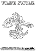 Printable or online colorable Skylanders Swap Force coloring page. This colouring sheet show the combination skylander FREE SHAKE that has to be made by combining parts from other Skylanders Swap Force characters! FREE SHAKE is drawn with the upper part of the FREE RANGER Skylander and the lower part of the RATTLE SHAKE Skylander. In this coloring page, the FREE SHAKE skylander can be colored in full - as a complete skylander. The colouring page is drawn with a super thin line and has a colorable text with the FREE SHAKE letters as well. Print and color this Skylanders Swap Force FREE SHAKE coloring book page that is drawn and made available by Loke Hansen (http://www.LokeHansen.com) based on the original artwork of the Skylanders characters from the Skylanders Swap Force website. This coloring page variant has the highest amount of detail areas due to the thin drawing line used. Be sure to check the two other variants of this coloring page for more stroke (the line used to draw the FREE SHAKE with) options.