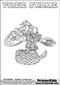 Skylanders Swap Force coloring page with FREE SHAKE. The FREE SHAKE Skylander figure cannot be bought as it is, it must be made by combining parts from FREE ranger and RATTLE SHAKE! FREE SHAKE is drawn with the upper part of the FREE RANGER Skylander and the lower part of the RATTLE SHAKE Skylander. In this coloring page, the FREE SHAKE skylander can be colored completely. The colouring page is drawn with a thin shaded line and has a colorable text with the FREE SHAKE letters as well. Print and color this Skylanders Swap Force FREE SHAKE coloring book page that is drawn and made available by Loke Hansen (http://www.LokeHansen.com) based on the original artwork of the Skylanders characters from the Skylanders Swap Force website. This line variant is the -editors choice- where detail areas and line appearance are in best balance. Be sure to check the two other variants of this coloring page for more stroke (the line used to draw the FREE SHAKE with) options.