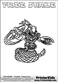 Printable and online colorable page for Skylanders Swap Force fans with the combination figure called FREE SHAKE. FREE SHAKE must be made by combining parts from other Skylanders Swap Force characters! FREE SHAKE is drawn with the upper part of the FREE RANGER Skylander and the lower part of the RATTLE SHAKE Skylander, the part used from each Skylander is used in the new skylanders name. In this coloring page, the FREE SHAKE skylander can be colored completely. The colouring page is drawn with a very thick line making it ideal for the youngest Skylanders Swap Force fans. The downside of the thick line is that some detail areas become unavailable for coloring. The coloring page has a colorable text with the FREE SHAKE letters as well. Print and color this Skylanders Swap Force FREE SHAKE coloring book page that is drawn and made available by Loke Hansen (http://www.LokeHansen.com) based on the original artwork of the Skylanders characters from the Skylanders Swap Force website. Be sure to check the two other variants of this coloring page for more line width options.
