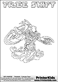 Printable or online colorable Skylanders Swap Force coloring page. This colouring sheet show the combination skylander FREE SHIFT that has to be made by combining parts from other Skylanders Swap Force characters! FREE SHIFT is drawn with the upper part of the FREE RANGER Skylander and the lower part of the NIGHT SHIFT Skylander. In this coloring page, the FREE SHIFT skylander can be colored in full - as a complete skylander. The colouring page is drawn with a super thin line and has a colorable text with the FREE SHIFT letters as well. Print and color this Skylanders Swap Force FREE SHIFT coloring book page that is drawn and made available by Loke Hansen (http://www.LokeHansen.com) based on the original artwork of the Skylanders characters from the Skylanders Swap Force website. This coloring page variant has the highest amount of detail areas due to the thin drawing line used. Be sure to check the two other variants of this coloring page for more stroke (the line used to draw the FREE SHIFT with) options.