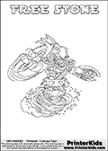 Coloring page with FREE STONE from the 2013 Skylanders game called Skylanders SwapForce. The Skylanders Swap Force universe offer new unique characters that can be combined into even more characters. The Skylanders character in this coloring print - FREE STONE has the upper part of the FREE RANGER Skylander character and the lower part of the DOOM STONE character. This coloring page for printing show the Skylander in full. Print and color this Skylanders Swap Force FREE STONE page that is drawn by Loke Hansen (http://www.LokeHansen.com) based on the original artwork of the Skylanders characters.
