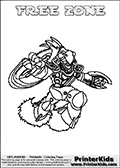 Coloring page with FREE ZONE from the 2013 Skylanders game called Skylanders SwapForce. The Skylanders Swap Force universe offer new unique characters that can be combined into even more characters. The Skylanders character in this coloring print - FREE ZONE has the upper part of the FREE RANGER Skylander character and the lower part of the BLAST ZONE character. This coloring page for printing show the Skylander in full. Print and color this Skylanders Swap Force FREE ZONE page that is drawn by Loke Hansen (http://www.LokeHansen.com) based on the original artwork of the Skylanders characters.
