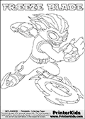 Printable or online colorable Skylanders Swap Force coloring page with the original swappable character FREEZE BLADE. FREEZE BLADE is a Skylander that can be bought and combined with other swappable Skylanders - the two parts FREEZE and BLADE are in the same figure box! The colouring page is drawn with a super thin line and has a colorable text with the FREEZE BLADE letters. Print and color this Skylanders Swap Force FREEZE BLADE coloring print page that is drawn and made available by Loke Hansen (http://www.LokeHansen.com) based on the original artwork of the Skylanders characters from the Skylanders Swap Force website. This coloring page variant has the highest amount of detail areas due to the thin drawing line used. Be sure to check the two other variants of this coloring page for more stroke (the line used to draw the FREEZE BLADE with) options.