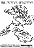 Printable or online colorable Skylanders Swap Force coloring page with the original swappable character FREEZE BLADE. FREEZE BLADE is a Skylander that can be bought and combined with other swappable Skylanders - the two parts FREEZE and BLADE are in the same figure box! The colouring page is drawn with a thick line. This make the coloring page ideal for the youngest fans. The printable coloring page also have the skylander name as colorable text. Print and color this Skylanders Swap Force FREEZE BLADE coloring print page that is drawn and made available by Loke Hansen (http://www.LokeHansen.com) based on the original artwork of the Skylanders characters from the Skylanders Swap Force website.