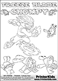 Printable or online colorable Skylanders Swap Force coloring page with the original swappable character FREEZE BLADE and 6 Chompy figures (chompies that can be colored). Chompies are somewhat easy opponents players face in the different Skylanders games. FREEZE BLADE is a Skylander that can be bought and combined with other swappable Skylanders - the two parts FREEZE and BLADE are in the same figure box! The colouring page is drawn with a super thin line and has a colorable text with the FREEZE BLADE and CHOMPY letters. Print and color this Skylanders Swap Force FREEZE BLADE coloring print page that is drawn and made available by Loke Hansen (http://www.LokeHansen.com) based on the original artwork of the Skylanders characters from the Skylanders Swap Force website. This coloring page variant has the highest amount of detail areas due to the thin drawing line used. Be sure to check the two other variants of this coloring page for more stroke (the line used to draw the FREEZE BLADE with) options.