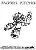 A printable coloring page with Skylanders Swap Force figure FREEZE CHARGE. This is one of the MANY printable coloring pages here at www.PrinterKids.com that have a colorable Skylanders Swap Force figure with one of more parts from MAGNA CHARGE. This printable coloring sheet show the Skylanders Swap Force figure combination FREEZE CHARGE, that drawn with the upper part of the FREEZE BLADE Skylander and the lower part of the MAGNA CHARGE Skylander. In this coloring page, the FREEZE CHARGE skylander parts are drawn so that the Skylander can be colored in full - as one character or figure (note that an online coloring page version is available as well via the link below the coloring page image). Print and color this Skylanders Swap Force FREEZE CHARGE page that is drawn by Loke Hansen (http://www.LokeHansen.com) based on the original artwork of the Skylanders characters from the Skylanders Swap Force website. Be sure to check out the many other Skylanders Swap force coloring pages!