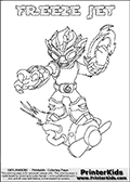 Coloring page with FREEZE JET from the 2013 Skylanders game called Skylanders SwapForce. The Skylanders Swap Force universe offer new unique characters that can be combined into even more characters. The Skylanders character in this coloring print - FREEZE JET has the upper part of the FREEZE BLADE Skylander character and the lower part of the BOOM JET character. This coloring page for printing show the Skylander in full. Print and color this Skylanders Swap Force FREEZE JET page that is drawn by Loke Hansen (http://www.LokeHansen.com) based on the original artwork of the Skylanders characters.