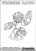 This coloring page (for printing or coloring online) show the Skylanders Swap Force figure combination FREEZE LOOP. FREE LOOP is drawn with the upper part of the FREEZE BLADE Skylander and the lower part of the HOOT LOOP Skylander in this colorable sheet. The parts that make up the FREEZE LOOP skylanders character are drawn so that the Skylander can be colored in full - as one character or figure. Print and color this Skylanders Swap Force FREEZE LOOP page that is drawn by Loke Hansen (http://www.LokeHansen.com) based on the original artwork of the Skylanders characters from the Skylanders Swap Force website.