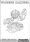 Coloring page with FREEZE RANGER from the 2013 Skylanders game called Skylanders SwapForce. The Skylanders Swap Force universe offer new unique characters that can be combined into even more characters. The Skylanders character in this coloring print - FREEZE RANGER has the upper part of the FREEZE BLADE Skylander character and the lower part of the FREE RANGER character. This coloring page for printing show the Skylander in full. Print and color this Skylanders Swap Force FREEZE RANGER page that is drawn by Loke Hansen (http://www.LokeHansen.com) based on the original artwork of the Skylanders characters.
