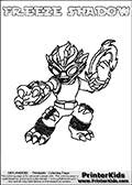 Printable and online colorable page for Skylanders Swap Force fans with the combination figure called FREEZE SHADOW. FREEZE SHADOW must be made by combining parts from other Skylanders Swap Force characters! FREEZE SHADOW is drawn with the upper part of the FREEZE BLADE Skylander and the lower part of the TRAP SHADOW Skylander, the part used from each Skylander is used in the new skylanders name. In this coloring page, the FREEZE SHADOW skylander can be colored completely. The colouring page is drawn with a very thick line making it ideal for the youngest Skylanders Swap Force fans. The downside of the thick line is that some detail areas become unavailable for coloring. The coloring page has a colorable text with the FREEZE SHADOW letters as well. Print and color this Skylanders Swap Force FREEZE SHADOW coloring book page that is drawn and made available by Loke Hansen (http://www.LokeHansen.com) based on the original artwork of the Skylanders characters from the Skylanders Swap Force website. Be sure to check the two other variants of this coloring page for more line width options.