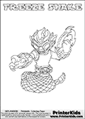 Printable or online colorable Skylanders Swap Force coloring page. This colouring sheet show the combination skylander FREEZE SHAKE that has to be made by combining parts from other Skylanders Swap Force characters! FREEZE SHAKE is drawn with the upper part of the FREEZE BLADE Skylander and the lower part of the RATTLE SHAKE Skylander. In this coloring page, the FREEZE SHAKE skylander can be colored in full - as a complete skylander. The colouring page is drawn with a super thin line and has a colorable text with the FREEZE SHAKE letters as well. Print and color this Skylanders Swap Force FREEZE SHAKE coloring book page that is drawn and made available by Loke Hansen (http://www.LokeHansen.com) based on the original artwork of the Skylanders characters from the Skylanders Swap Force website. This coloring page variant has the highest amount of detail areas due to the thin drawing line used. Be sure to check the two other variants of this coloring page for more stroke (the line used to draw the FREEZE SHAKE with) options.