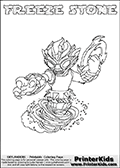 Coloring page with FREEZE STONE from the 2013 Skylanders game called Skylanders SwapForce. The Skylanders Swap Force universe offer new unique characters that can be combined into even more characters. The Skylanders character in this coloring print - FREEZE STONE has the upper part of the FREEZE BLADE Skylander character and the lower part of the DOOM STONE character. This coloring page for printing show the Skylander in full. Print and color this Skylanders Swap Force FREEZE STONE page that is drawn by Loke Hansen (http://www.LokeHansen.com) based on the original artwork of the Skylanders characters.