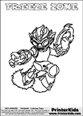 Coloring page with FREEZE ZONE from the 2013 Skylanders game called Skylanders SwapForce. The Skylanders Swap Force universe offer new unique characters that can be combined into even more characters. The Skylanders character in this coloring print - FREEZE ZONE has the upper part of the FREEZE BLADE Skylander character and the lower part of the BLAST ZONE character. This coloring page for printing show the Skylander in full. Print and color this Skylanders Swap Force FREEZE ZONE page that is drawn by Loke Hansen (http://www.LokeHansen.com) based on the original artwork of the Skylanders characters.