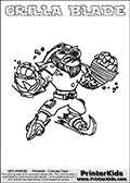 Coloring sheet with GRILLA BLADE from the Skylanders Swap Force game. The Skylander in this colouring page - GRILLA BLADE has the upper part of the GRILLA DRILLA Skylander and the lower part of the FREEZE BLADE Skylander. This coloring page for printing show the Skylander in full. Print and color this Skylanders Swap Force GRILLA BLADE page that is drawn by Loke Hansen (http://www.LokeHansen.com) based on the original artwork of the Skylanders characters.