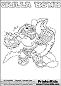 Printable GRILLA BOMB online colorable Skylanders Swap Force page. This coloring page can be printed or colored online! The sheet show the combination skylander GRILLA BOMB that has to be made by combining parts from other Skylanders Swap Force characters! GRILLA BOMB is drawn with the upper part of the GRILLA DRILLA Skylander and the lower part of the STINK BOMB Skylander. In this coloring page, the GRILLA BOMB skylander can be colored in full - as a complete skylander. The colouring page is drawn with a super thin line and has a colorable text with the GRILLA BOMB letters as well. Print and color this Skylanders Swap Force GRILLA BOMB coloring book page that is drawn and made available by Loke Hansen (http://www.LokeHansen.com) based on the original artwork of the Skylanders characters from the Skylanders Swap Force website. This coloring page variant has the highest amount of detail areas due to the thin drawing line used. Be sure to check the two other variants of this coloring page for more stroke (the line used to draw the GRILLA BOMB with) options.