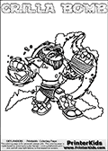 Printable and online colorable page for Skylanders Swap Force fans with the combination figure called GRILLA BOMB. GRILLA BOMB must be made by combining parts from other Skylanders Swap Force characters! GRILLA BOMB is drawn with the upper part of the GRILLA DRILLA Skylander and the lower part of the STINK BOMB Skylander, the part used from each Skylander is used in the new skylanders name. In this coloring page, the GRILLA BOMB skylander can be colored completely. The colouring page is drawn with a very thick line making it ideal for the youngest Skylanders Swap Force fans. The downside of the thick line is that some detail areas become unavailable for coloring. The coloring page has a colorable text with the GRILLA BOMB letters as well. Print and color this Skylanders Swap Force GRILLA BOMB coloring book page that is drawn and made available by Loke Hansen (http://www.LokeHansen.com) based on the original artwork of the Skylanders characters from the Skylanders Swap Force website. Be sure to check the two other variants of this coloring page for more line width options.