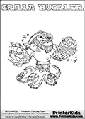 Skylanders Swap Force coloring page with GRILLA BUCKLER. The GRILLA BUCKLER Skylander figure cannot be bought as it is, it must be made by combining parts from GRILLA DRILLA and WASH BUCKLER! GRILLA BUCKLER is drawn with the upper part of the GRILLA DRILLA Skylander and the lower part of the WASH BUCKLER Skylander. In this coloring page, the GRILLA BUCKLER skylander can be colored completely. The colouring page is drawn with a thin shaded line and has a colorable text with the GRILLA BUCKLER letters as well. Print and color this Skylanders Swap Force GRILLA BUCKLER coloring book page that is drawn and made available by Loke Hansen (http://www.LokeHansen.com) based on the original artwork of the Skylanders characters from the Skylanders Swap Force website. This line variant is the -editors choice- where detail areas and line appearance are in best balance. Be sure to check the two other variants of this coloring page for more stroke (the line used to draw the GRILLA BUCKLER with) options.