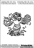 Coloring page with GRILLA DRILLA from Skylanders Swap Force. Skylanders Swap Force is a unique multi-platform game where characters can be combined into even more characters. The Skylanders character in this coloring print - GRILLA DRILLA is a standard character and has no parts from other Skylanders characters. It can however replace either the upper or lower body with that of another Skylanders character. This coloring page for printing show the Skylander in full. Print and color this Skylanders Swap Force GRILLA DRILLA page that is drawn by Loke Hansen (http://www.LokeHansen.com) based on the original artwork of the Skylanders characters.