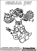 Coloring sheet with GRILLA JET from the Skylanders Swap Force game. The Skylander in this colouring page - GRILLA JET has the upper part of the GRILLA DRILLA Skylander and the lower part of the BOOM JET Skylander. This coloring page for printing show the Skylander in full. Print and color this Skylanders Swap Force GRILLA JET page that is drawn by Loke Hansen (http://www.LokeHansen.com) based on the original artwork of the Skylanders characters.