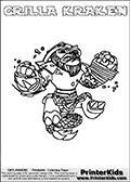Coloring sheet with GRILLA KRAKEN from the Skylanders Swap Force game. The Skylander in this colouring page - GRILLA KRAKEN has the upper part of the GRILLA DRILLA Skylander and the lower part of the FIRE KRAKEN Skylander. This coloring page for printing show the Skylander in full. Print and color this Skylanders Swap Force GRILLA KRAKEN page that is drawn by Loke Hansen (http://www.LokeHansen.com) based on the original artwork of the Skylanders characters.