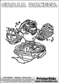 Coloring sheet with GRILLA RANGER from the Skylanders Swap Force game. The Skylander in this colouring page - GRILLA RANGER has the upper part of the GRILLA DRILLA Skylander and the lower part of the FREE RANGER Skylander. This coloring page for printing show the Skylander in full. Print and color this Skylanders Swap Force GRILLA RANGER page that is drawn by Loke Hansen (http://www.LokeHansen.com) based on the original artwork of the Skylanders characters.