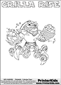 Printable GRILLA RISE online colorable Skylanders Swap Force page. This coloring page can be printed or colored online! The sheet show the combination skylander GRILLA RISE that has to be made by combining parts from other Skylanders Swap Force characters! GRILLA RISE is drawn with the upper part of the GRILLA DRILLA Skylander and the lower part of the SPY RISE Skylander. In this coloring page, the GRILLA RISE skylander can be colored in full - as a complete skylander. The colouring page is drawn with a super thin line and has a colorable text with the GRILLA RISE letters as well. Print and color this Skylanders Swap Force GRILLA RISE coloring book page that is drawn and made available by Loke Hansen (http://www.LokeHansen.com) based on the original artwork of the Skylanders characters from the Skylanders Swap Force website. This coloring page variant has the highest amount of detail areas due to the thin drawing line used. Be sure to check the two other variants of this coloring page for more stroke (the line used to draw the GRILLA RISE with) options.
