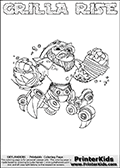 Skylanders Swap Force coloring page with GRILLA RISE. The GRILLA RISE Skylander figure cannot be bought as it is, it must be made by combining parts from GRILLA DRILLA and SPY RISE! GRILLA RISE is drawn with the upper part of the GRILLA DRILLA Skylander and the lower part of the SPY RISE Skylander. In this coloring page, the GRILLA RISE skylander can be colored completely. The colouring page is drawn with a thin shaded line and has a colorable text with the GRILLA RISE letters as well. Print and color this Skylanders Swap Force GRILLA RISE coloring book page that is drawn and made available by Loke Hansen (http://www.LokeHansen.com) based on the original artwork of the Skylanders characters from the Skylanders Swap Force website. This line variant is the -editors choice- where detail areas and line appearance are in best balance. Be sure to check the two other variants of this coloring page for more stroke (the line used to draw the GRILLA RISE with) options.