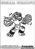 Printable and online colorable page for Skylanders Swap Force fans with the combination figure called GRILLA SHADOW. GRILLA SHADOW must be made by combining parts from other Skylanders Swap Force characters! GRILLA SHADOW is drawn with the upper part of the GRILLA DRILLA Skylander and the lower part of the TRAP SHADOW Skylander, the part used from each Skylander is used in the new skylanders name. In this coloring page, the GRILLA SHADOW skylander can be colored completely. The colouring page is drawn with a very thick line making it ideal for the youngest Skylanders Swap Force fans. The downside of the thick line is that some detail areas become unavailable for coloring. The coloring page has a colorable text with the GRILLA SHADOW letters as well. Print and color this Skylanders Swap Force GRILLA SHADOW coloring book page that is drawn and made available by Loke Hansen (http://www.LokeHansen.com) based on the original artwork of the Skylanders characters from the Skylanders Swap Force website. Be sure to check the two other variants of this coloring page for more line width options.
