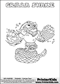 Printable GRILLA SHAKE online colorable Skylanders Swap Force page. This coloring page can be printed or colored online! The sheet show the combination skylander GRILLA SHAKE that has to be made by combining parts from other Skylanders Swap Force characters! GRILLA SHAKE is drawn with the upper part of the GRILLA DRILLA Skylander and the lower part of the RATTLE SHAKE Skylander. In this coloring page, the GRILLA SHAKE skylander can be colored in full - as a complete skylander. The colouring page is drawn with a super thin line and has a colorable text with the GRILLA SHAKE letters as well. Print and color this Skylanders Swap Force GRILLA SHAKE coloring book page that is drawn and made available by Loke Hansen (http://www.LokeHansen.com) based on the original artwork of the Skylanders characters from the Skylanders Swap Force website. This coloring page variant has the highest amount of detail areas due to the thin drawing line used. Be sure to check the two other variants of this coloring page for more stroke (the line used to draw the GRILLA SHAKE with) options.