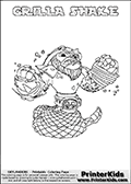 Skylanders Swap Force coloring page with GRILLA SHAKE. The GRILLA SHAKE Skylander figure cannot be bought as it is, it must be made by combining parts from GRILLA DRILLA and RATTLE SHAKE! GRILLA SHAKE is drawn with the upper part of the GRILLA DRILLA Skylander and the lower part of the RATTLE SHAKE Skylander. In this coloring page, the GRILLA SHAKE skylander can be colored completely. The colouring page is drawn with a thin shaded line and has a colorable text with the GRILLA SHAKE letters as well. Print and color this Skylanders Swap Force GRILLA SHAKE coloring book page that is drawn and made available by Loke Hansen (http://www.LokeHansen.com) based on the original artwork of the Skylanders characters from the Skylanders Swap Force website. This line variant is the -editors choice- where detail areas and line appearance are in best balance. Be sure to check the two other variants of this coloring page for more stroke (the line used to draw the GRILLA SHAKE with) options.