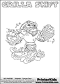 Printable GRILLA SHIFT online colorable Skylanders Swap Force page. This coloring page can be printed or colored online! The sheet show the combination skylander GRILLA SHIFT that has to be made by combining parts from other Skylanders Swap Force characters! GRILLA SHIFT is drawn with the upper part of the GRILLA DRILLA Skylander and the lower part of the NIGHT SHIFT Skylander. In this coloring page, the GRILLA SHIFT skylander can be colored in full - as a complete skylander. The colouring page is drawn with a super thin line and has a colorable text with the GRILLA SHIFT letters as well. Print and color this Skylanders Swap Force GRILLA SHIFT coloring book page that is drawn and made available by Loke Hansen (http://www.LokeHansen.com) based on the original artwork of the Skylanders characters from the Skylanders Swap Force website. This coloring page variant has the highest amount of detail areas due to the thin drawing line used. Be sure to check the two other variants of this coloring page for more stroke (the line used to draw the GRILLA SHIFT with) options.
