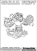 Skylanders Swap Force coloring page with GRILLA SHIFT. The GRILLA SHIFT Skylander figure cannot be bought as it is, it must be made by combining parts from GRILLA DRILLA and NIGHT SHIFT! GRILLA SHIFT is drawn with the upper part of the GRILLA DRILLA Skylander and the lower part of the NIGHT SHIFT Skylander. In this coloring page, the GRILLA SHIFT skylander can be colored completely. The colouring page is drawn with a thin shaded line and has a colorable text with the GRILLA SHIFT letters as well. Print and color this Skylanders Swap Force GRILLA SHIFT coloring book page that is drawn and made available by Loke Hansen (http://www.LokeHansen.com) based on the original artwork of the Skylanders characters from the Skylanders Swap Force website. This line variant is the -editors choice- where detail areas and line appearance are in best balance. Be sure to check the two other variants of this coloring page for more stroke (the line used to draw the GRILLA SHIFT with) options.