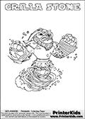 Coloring sheet with GRILLA STONE from the Skylanders Swap Force game. The Skylander in this colouring page - GRILLA STONE has the upper part of the GRILLA DRILLA Skylander and the lower part of the DOOM STONE Skylander. This coloring page for printing show the Skylander in full. Print and color this Skylanders Swap Force GRILLA STONE page that is drawn by Loke Hansen (http://www.LokeHansen.com) based on the original artwork of the Skylanders characters.