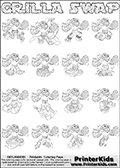 Printable or online colorable Skylanders Swap Force coloring page with all 16 combinations of Skylanders made with the GRILLA upper part. The skylanders coloring figures are relatively small - but there are 16 different on this coloring page. Print and color this Skylanders Swap Force GRILLA SWAP coloring print page that is drawn and made available by Loke Hansen (http://www.LokeHansen.com) based on the original artwork of the Skylanders characters from the Skylanders Swap Force website. This coloring page variant has the highest amount of detail areas due to the thin drawing line used. The Skylanders combinations show here for coloring are: GRILLA ZONE, GRILLA JET, GRILLA STONE, GRILLA KRAKEN, GRILLA RANGER, GRILLA BLADE, GRILLA DRILLA, GRILLA LOOP, GRILLA CHARGE, GRILLA SHIFT, GRILLA SHAKE, GRILLA ROUSER, GRILLA RISE, GRILLA BOMB, GRILLA SHADOW and GRILLA BUCKLER.