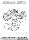 Coloring sheet with GRILLA ZONE from the Skylanders Swap Force game. The Skylander in this colouring page - GRILLA ZONE has the upper part of the GRILLA DRILLA Skylander and the lower part of the BLAST ZONE Skylander. This coloring page for printing show the Skylander in full. Print and color this Skylanders Swap Force GRILLA ZONE page that is drawn by Loke Hansen (http://www.LokeHansen.com) based on the original artwork of the Skylanders characters.