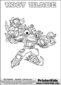 This coloring page (for printing or coloring online) show the Skylanders Swap Force figure combination HOOT BLADE. The HOOT BLADE Skylander in this colouring page is drawn with the upper part of the HOOT LOOP Skylander and the lower part of the FREEZE BLADE Skylander. Both the upper and lower part can be colored, and the parts are drawn so that the coloring page for printing show the Skylander in full. Print and color this Skylanders Swap Force HOOT BLADE page that is drawn by Loke Hansen (http://www.LokeHansen.com) based on the original artwork of the Skylanders characters.