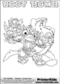 Printable or online colorable Skylanders Swap Force coloring page. This colouring sheet show the combination skylander HOOT BOMB that has to be made by combining parts from other Skylanders Swap Force characters! HOOT BOMB is drawn with the upper part of the HOOT LOOP Skylander and the lower part of the STINK BOMB Skylander. In this coloring page, the HOOT BOMB skylander can be colored in full - as a complete skylander. The colouring page is drawn with a super thin line and has a colorable text with the HOOT BOMB letters as well. Print and color this Skylanders Swap Force HOOT BOMB coloring book page that is drawn and made available by Loke Hansen (http://www.LokeHansen.com) based on the original artwork of the Skylanders characters from the Skylanders Swap Force website. This coloring page variant has the highest amount of detail areas due to the thin drawing line used. Be sure to check the two other variants of this coloring page for more stroke (the line used to draw the HOOT BOMB with) options.