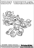 Skylanders Swap Force coloring page with HOOT BUCKLER. The HOOT BUCKLER Skylander figure cannot be bought as it is, it must be made by combining parts from HOOT loop and WASH BUCKLER! HOOT BUCKLER is drawn with the upper part of the HOOT LOOP Skylander and the lower part of the WASH BUCKLER Skylander. In this coloring page, the HOOT BUCKLER skylander can be colored completely. The colouring page is drawn with a thin shaded line and has a colorable text with the HOOT BUCKLER letters as well. Print and color this Skylanders Swap Force HOOT BUCKLER coloring book page that is drawn and made available by Loke Hansen (http://www.LokeHansen.com) based on the original artwork of the Skylanders characters from the Skylanders Swap Force website. This line variant is the -editors choice- where detail areas and line appearance are in best balance. Be sure to check the two other variants of this coloring page for more stroke (the line used to draw the HOOT BUCKLER with) options.